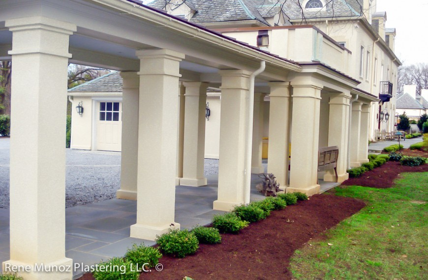 Stucco columns corridor quality stucco siding for Stucco columns